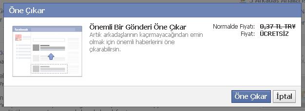 facebook öne çıkar