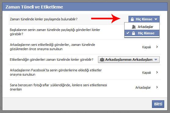 facebook duvar kapatma